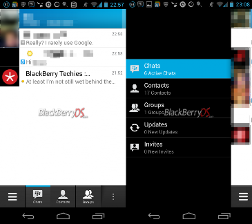 Tampilan aplikasi blackberry Messenger versi beta di flatform Android (the next web).